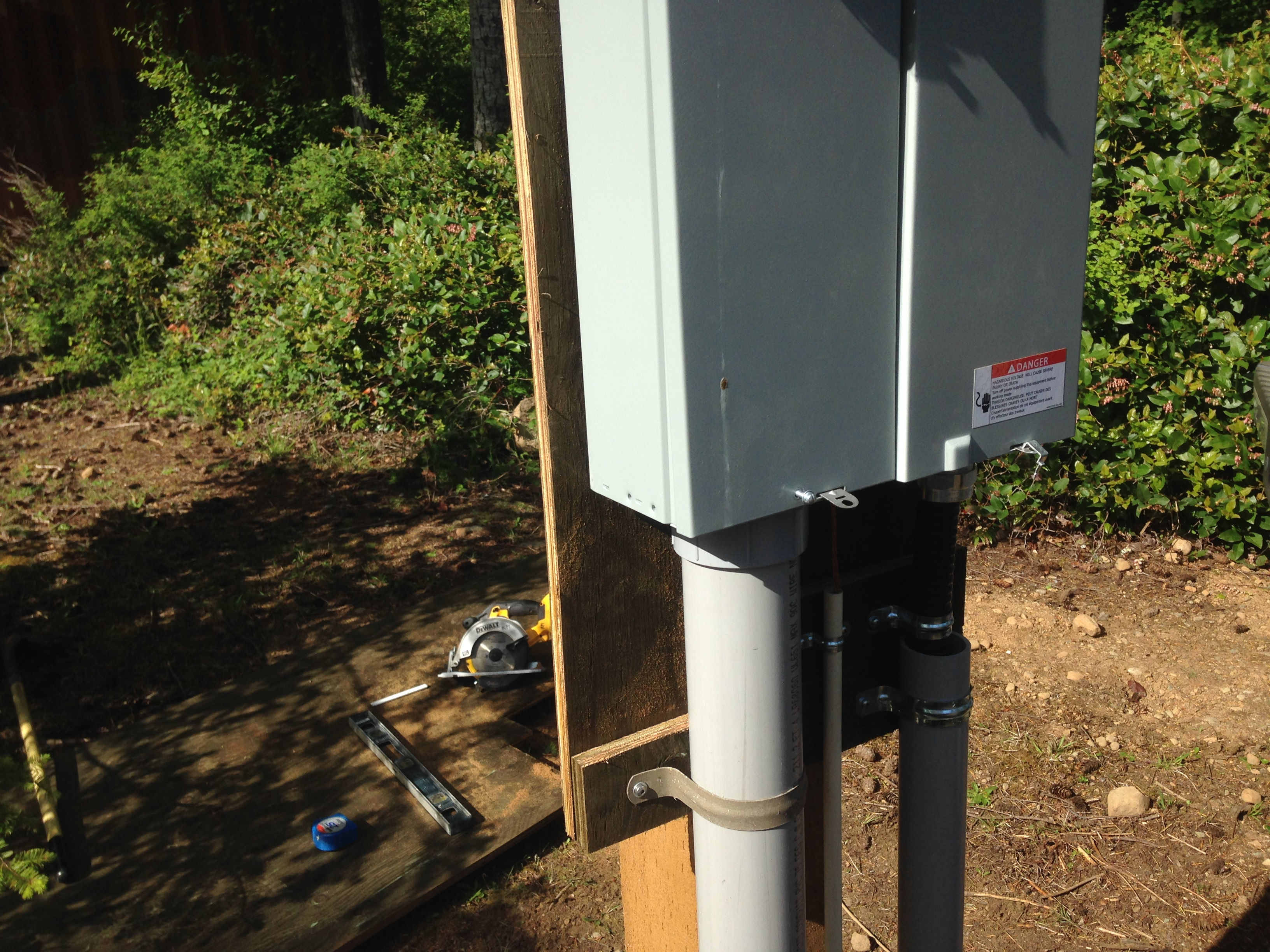 picture of a meter base - life as an electrician in the comox valley means installing new electrical services for secondary residences