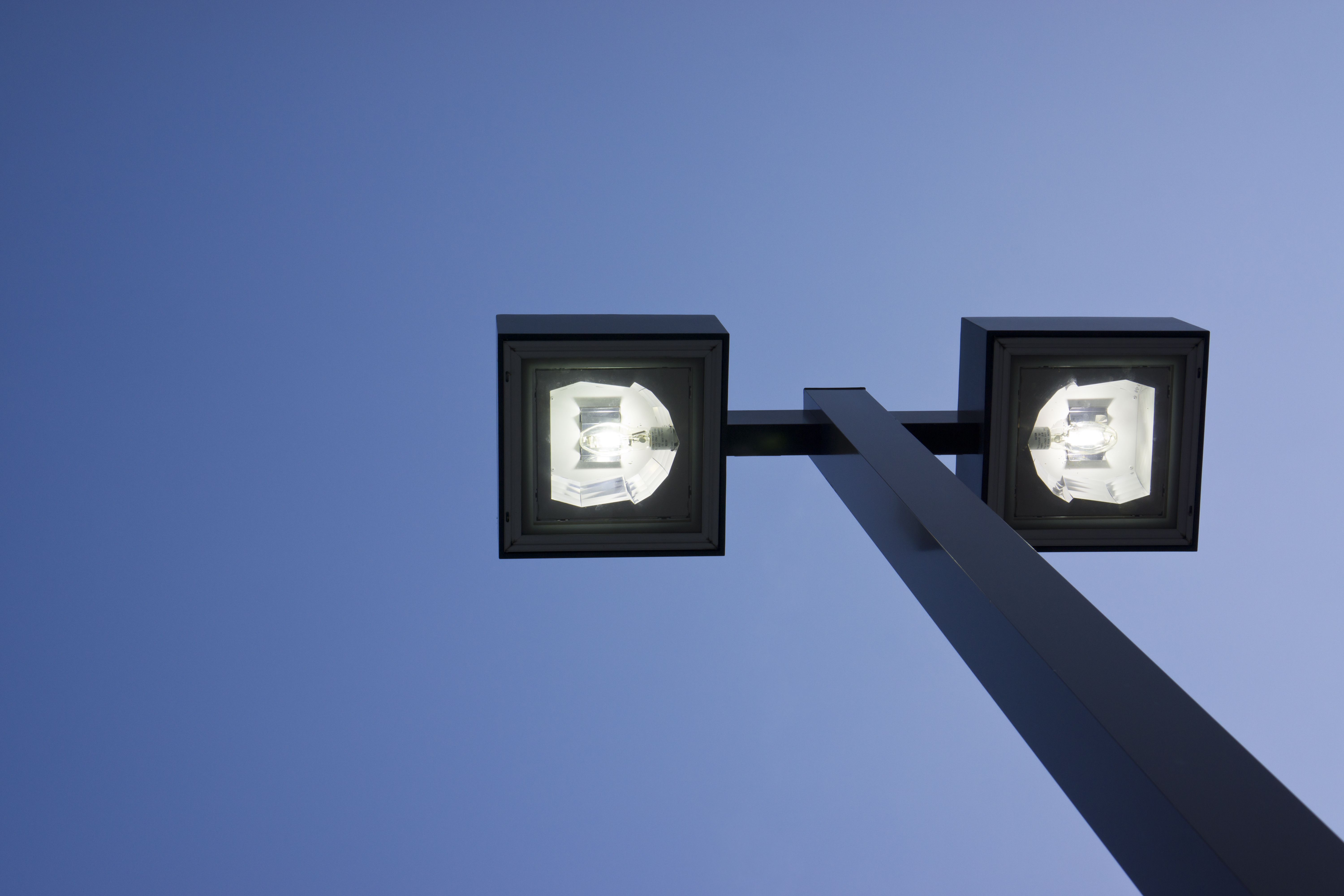saving $50,000 with LED fixtures - picture of exterior LED pole lamps